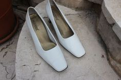White Leather upper Women's Shoes Size (US) No reserve - worn once only Online Garage Sale, Pumps, Heels, White Leather, Women's Shoes, Formal, Classic, Ebay, Fashion