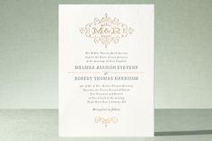 """Ornate Monogram"" - Monogrammed, Elegant Wedding Invitations in Faux Gold by Kristen Smith."
