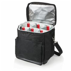 """Cellar Insulated Wine Tote Cooler with Removable Divider Product Description Dimensions: 18″ L x 15″ W x 13″ H Imprinted Area:8″ W x 6″ H on print 8″x6″, embroider 5″x4″. Screen printed. Colors: Black Capacity: Six Bottles Type: Wine/Beer/Liquor Bags Place of origin: Viet Nam  MOQ: 1container 20"""" OEM/ODM: Available"""