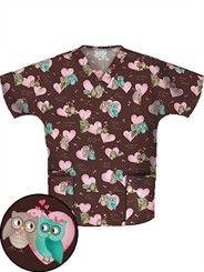 owl scrub top Medical Scrubs, Scrub Tops, V Neck Tops, Men Casual, Sewing, Blouse, Fabric, Mens Tops, Cotton