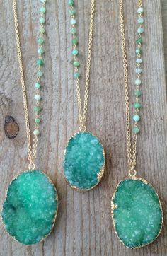 Rough Green Druzy Necklaces with Chrysoprase Stone Accents