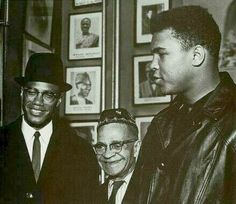 Malcolm X, Lewis Michaux & Muhammad Ali. Later in his life Ali began to recent X. The two would never speak to each other again despite formerly being friends. Float Like A Butterfly, Human Rights Activists, Figure Of Speech, Malcolm X, Freedom Fighters, Muhammad Ali, African History, Famous Faces, White Man
