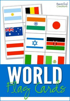 World flag cards - 35 country flags from around the world. Use as a matching game or to display when learning flags. Includes teacher key.