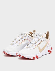 Nike React Element 55 Sneaker in White , Net Leggings, Shoe Size Conversion, White Nikes, Leggings Fashion, Air Jordans, Sneakers Nike, Mens Fashion, Heels, Casual