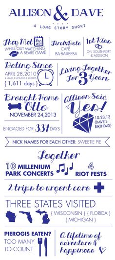 Engagement fun fact, save the date, digital file,A Long Story Short, wedding, engagement, wedding decor,fun facts, infographic