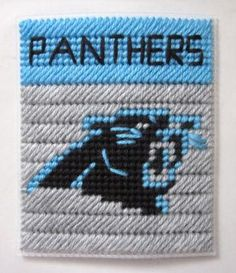Carolina Panthers tissue box cover in plastic canvas PATTERN ONLY by AuntCC for $2.50 Plastic Canvas Tissue Boxes, Plastic Canvas Crafts, Plastic Canvas Patterns, Sport Themed Crafts, Football Crafts, Yarn Storage, Box Patterns, Tissue Box Covers, Tissue Holders