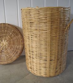 Large Vintage Bamboo Basket with Lid by PortlandiaRevibe on Etsy