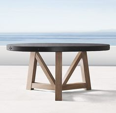TB_10 - French Beam Concrete & Teak Round Dining Table