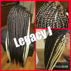Box  braids Black and Blonde sides