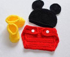Crochet Newborn Baby Boy Mickey Mouse Photo Prop by ChildishDreams, $17.50