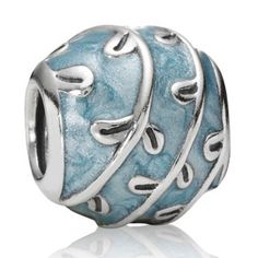 Pandora Vines with Blue Enamel Charm -  This charm reminds me of blue skies and pretty gardens!  The Pandora Light Blue Vines Charm is st...