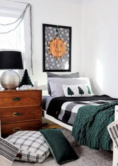 Made by Carli Setting Up Our Boys' Shared Bedroom for the Holidays Two Twin Beds, Floor Cushions, Better Homes And Gardens, Popular Pins, Home Collections, Seasonal Decor, Bedroom Ideas, New Homes, Home And Garden