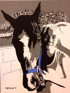 Equestrian rider Sara & her friend Jerry - Hand painted acrylic portrait on stretched canvas created by artist Mike Latiolais. Jerry is the horse of the late trainer Mickey Schunick, Sara's personal trainer.www.ArtByLatiolais.com