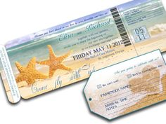 BEACH WEDDING INVITATION printable Destination Wedding - Orlando Suite (Starfish beach wedding theme). $22.00, via Etsy.