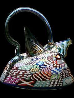"""Murrini Teapot"" by Richard Marquis, 1985 (blown glass teapot with murrini)."