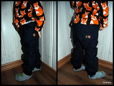 Child´s jeans from old women´s soft elastic jeans and added little foxes