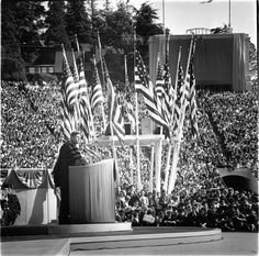 "March 23 1962: Happy birthday Mr. President! John F. Kennedy speaks in front of a crowd of more than 80000 at UC Berkeley. The story that ran on the front page of The Chronicle the following day began: ""The President of the United States standing yesterday in the Berkeley stadium built in memory of a generation of lost youth said the great currents of history are carrying the world away from Communism and toward democracy and freedom."" : Chronicle Archive #chroniclevault #chroniclecovers…"