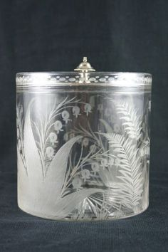 Glass and silver plate biscuit barrel decorated with etched lily of the valley and ferns - English, circa 1920