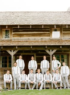 """""""Groom in vest.... Groomsmen in suspenders"""" I like this a ton!! this is exactly what ive been on the hunt for!"""