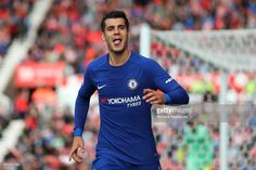 Alvaro Morata of Chelsea celebrates scoring the third goal (his second) during the Premier League match between Stoke City and Chelsea at Bet365 Stadium on September 23, 2017 in Stoke on Trent, England.