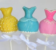 Disney Princess Dress Inspired Cake pops! Pink - Aurora Blue - Cinderella  Yellow - Belle    Birthday Party favor / table decoration