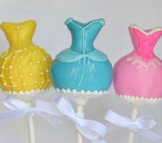 Disney Princess Dress Inspired Cake pops! Pink - Aurora Blue - Cinderella  Yellow - Belle    Birthday Party favor / table decoration