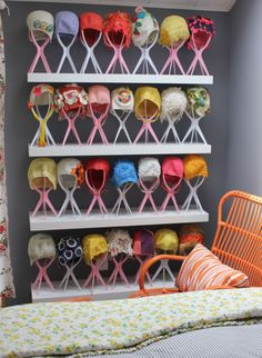 Vintage bathing cap collection. Nicely displayed.