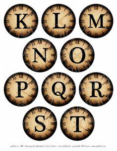 788b. Steampunk Alphabet K to T 2.5-inch circles