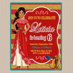 Elena of Avalor, Invitation, Disney, Elena of Avalor Custom, Elena of Avalor Printable, Birthday by DisenosdeSuenos on Etsy https://www.etsy.com/listing/495209411/elena-of-avalor-invitation-disney-elena
