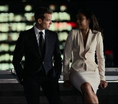 Gabriel Macht as Harvey Specter and Gina Torres as Jessica Pearson in Suits S3E06 The Other Time