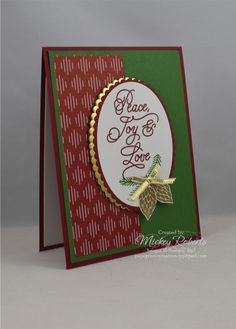 """Blog Post Date:  July 28, 2017.  A simple design that lends itself to quick reproduction when you have a bunch of Christmas cards to make.  Elements of this card include:  Peace This Christmas stamp set, Be Merry Designer Series Paper, Gold Foil Sheets, Gold 1/8"""" ribbon, Heat Embossing using Gold Stampin' Emboss Powder, and the colors of Cherry Cobbler, Garden Green, Gold, and Whisper White."""