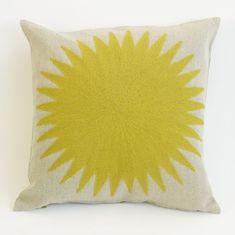 Charlene Mullen Yellow Geometric Big Sun Cushion: Yellow on Natural Linen