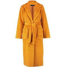 Yellow Coat, Yellow Raincoat, Rain Coats, Fur Coats, Tie Crop Top, Crop Tops, Fake Fur, Belted Coat, Boohoo