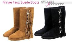 Montana West brand western style women's winter boots with a decorative fringe and lacing design, embellished with round and diamond shaped studs.  Features: •Micro suede material    •Western style design  •Lacing and Fringe •Plush faux fur lining  colors: black or brown    I love mine so warm and stylish! Price 64.95          order online http://www.endlessxpressions.com/store/#charmers
