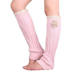 women's Wool sock knitting Trim Toppers Cuffs lace flowers knee socks leg warmers boots