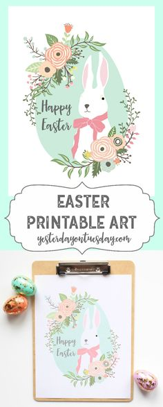 Easter Printable Art: Lovely printable Easter Art, looks pretty in a frame or on a clipboard. Effortless decorating idea! easter | spring | printable | bunny | art