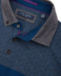 Printed panel polo shirt - Charcoal | Tops & T-shirts | Ted Baker