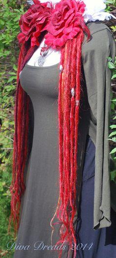 Bright Crimson Dread Lock Falls by Diva Dreads on Etsy, $85.00