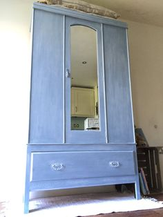 Pale blue antique childs armoire/wardrobe or hall by LivedandLoved