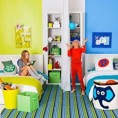 Separar habitaciones infantiles compartidas con colores