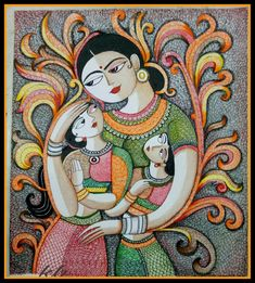 Ma always there for their children Dot Art Painting, Madhubani Painting, Painting Gallery, Fabric Painting, Figure Painting, Mural Art, Murals, Madhubani Art, Indian Folk Art