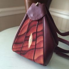 """Genuine Stingray skin backpack purse Wow!  Rare and gorgeous!  Oxblood red leather with genuine stingray skin.  Measures 10 1/2"""" x 8"""" Vintage Bags Backpacks"""