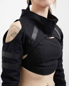 Crisiswear Variant Shrug - Open Shoulder Cyberpunk Unisex Black Top Deep Neck Leather Accents Fashion Zipper Front witchy future crop - The Variant is our newest shrug, and designed to be as aggressively comfortable as it is stylish. Mode Cyberpunk, Cyberpunk Fashion, Cyberpunk Clothes, Mode Outfits, Fashion Outfits, Emo Fashion, Gothic Fashion, Fashion Hacks, Dark Fashion