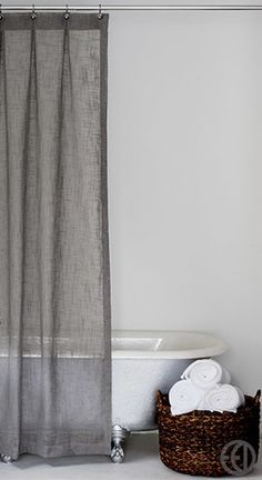 Extra Long Grey Fabric Shower CurtainShower Curtains in a Variety of Sizes, Fabrics and Designs
