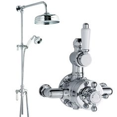 Our customers really like this traditional twin shower valve. It has great traditional bathroom styling in the rigid riser kit and is the perfect compliment to any traditional bathroom.   http://www.victorianplumbing.co.uk/Designer-Traditional-Twin-Valve-Rigid-Riser-Divertor-Shower-Rose.aspx  Thinking of adding Edwardian or Victorian bathroom decadence to your house? Look no further!
