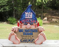 New York Giants gnome funny sign by WOODLANDCRITTERS on Etsy