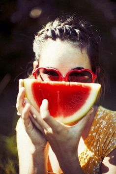 summer | watermelon | braids | heart sunglasses | Get them here: http://rstyle.me/~B5fv See more pics http://www.hairbraidingnetwork.com/photo/46/watermelon-braids-hair-braiding-styles-photos-and-tips/category_22/