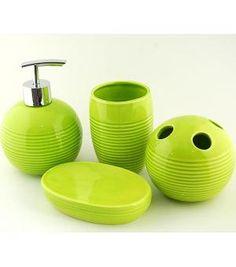 lovely green ceramic bath accessory sets x2504