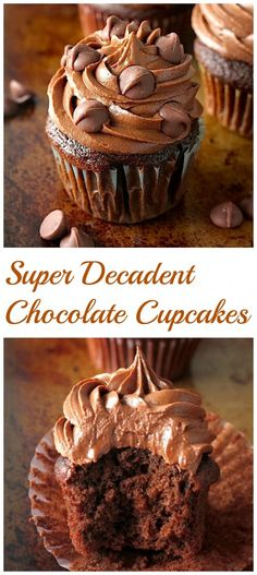 Chocolate Lovers – get excited! These rich, fudgy, super decadent chocolate cupcakes are all for you! So soft, fluffy, and full of chocolate flavor in every bite… they're addicting! And a chocolate lovers dream. Cupcake Recipes, Baking Recipes, Dessert Recipes, Dessert Ideas, Pasta Recipes, Appetizer Recipes, Decadent Chocolate, Chocolate Flavors, Homemade Chocolate Cupcakes