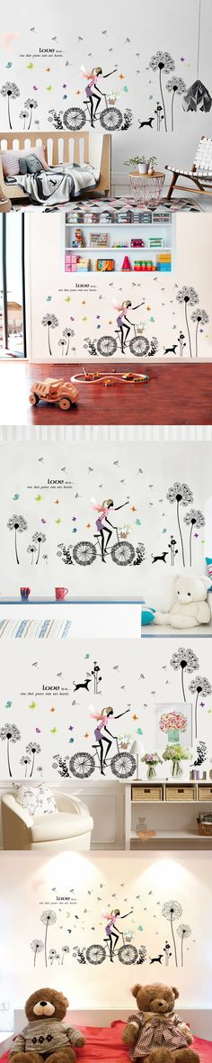 New dandelion girl fashion creative girl bedroom living room decoration wall sticker warm and convenient home decoration $8.99